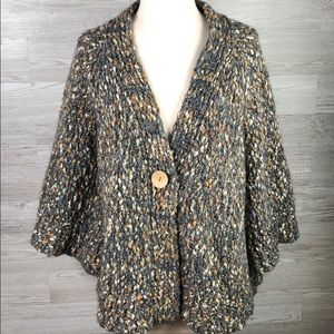 Cardigan Knit Sweater Single Button Bell Sleeve